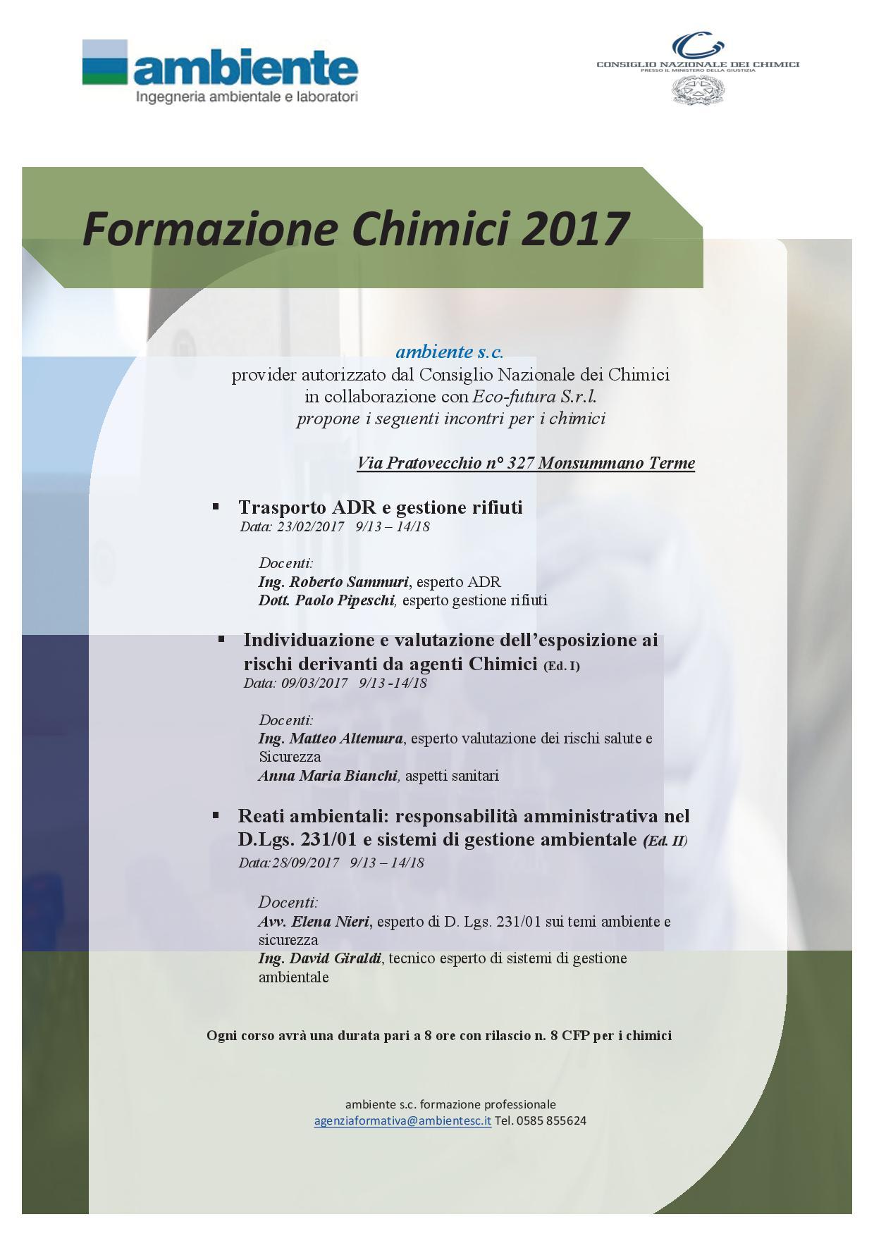 formazione chimici 20172